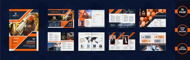 Projeto de brochura de construção com dados e formas geométricas de cor laranja e azul.