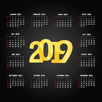 Projeto de calendário 2019 com vetor de fundo preto