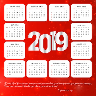 Projeto de calendário 2019 com vetor de fundo vermelho