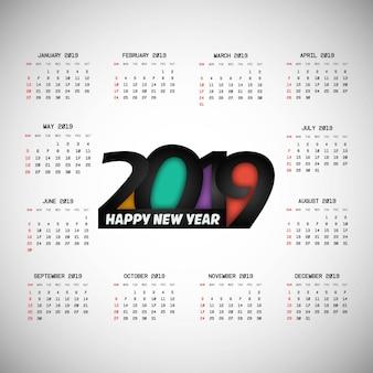 Projeto de calendário 2019 com vetor de luz de fundo