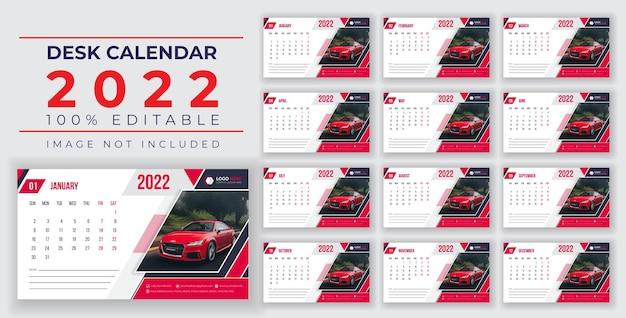 Projeto de calendário de mesa printready 2022 modelo victor banner victor eps ou design de mídia social