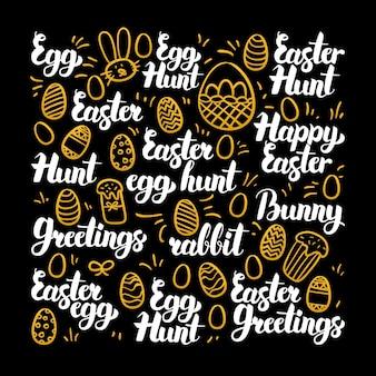 Projeto de caligrafia de ovo de páscoa. ilustração em vetor de letras de férias de primavera.