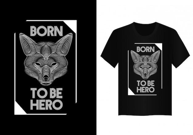 Projeto de camisa de t cara de raposa vector