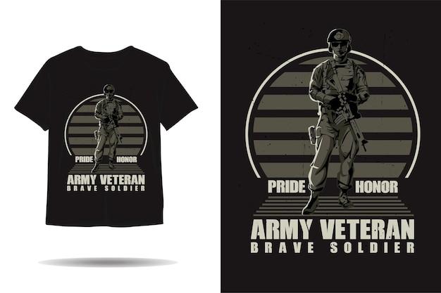 Projeto de camiseta com silhueta de soldado bravo veterano do exército