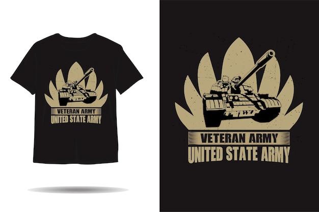 Projeto de camiseta com silhueta de veterano militar para tanque