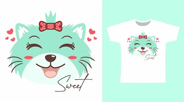 Projeto de camiseta com sorriso bonito de gato