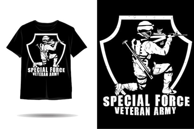 Projeto de camiseta da silhueta do exército veterano da força especial