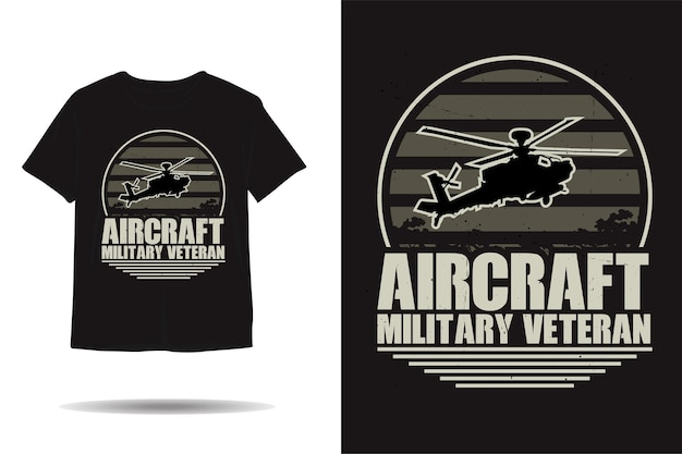 Projeto de camiseta de aeronave militar veterano