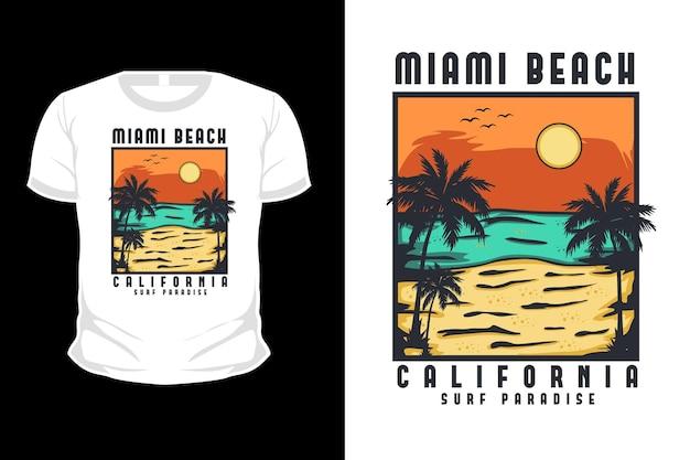 Projeto de camiseta de ilustração desenhada à mão em miami beach, califórnia