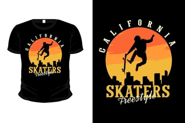 Projeto de camiseta de maquete de silhueta de mercadoria de estilo livre de patinadores