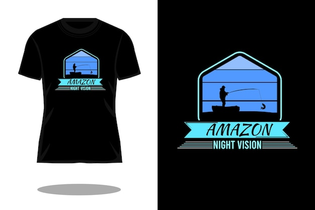 Projeto de camiseta de silhueta de barco de visão noturna amazon