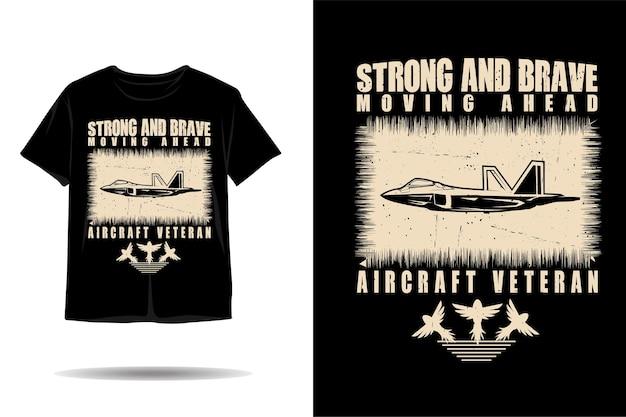 Projeto de camiseta de silhueta militar de avião a jato