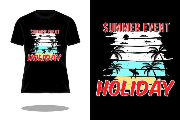 Projeto de camiseta retro da silhueta do feriado do evento de verão