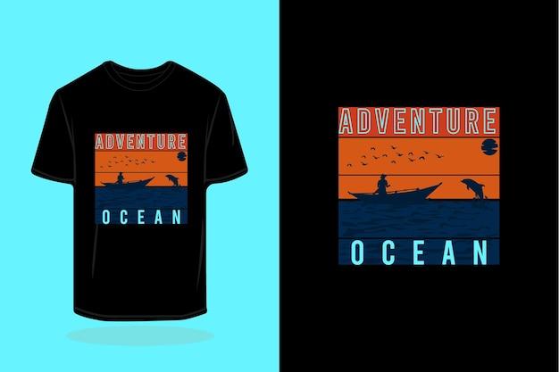 Projeto de camiseta retrô da silhueta do oceano aventura