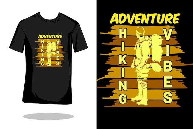 Projeto de camiseta retrô silhueta caminhada aventura