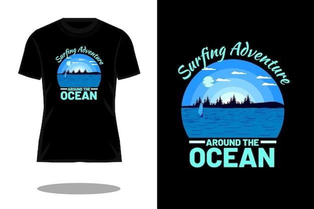 Projeto de camiseta retrô silhueta de aventura de surfe