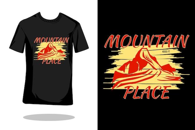 Projeto de camiseta retrô silhueta de montanha