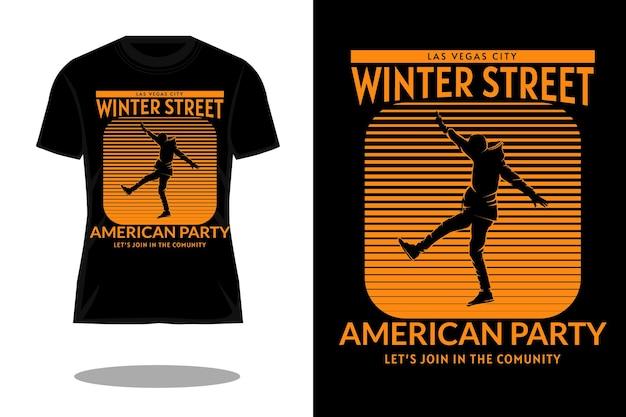 Projeto de camiseta retrô silhueta de rua de inverno