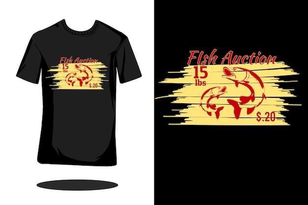 Projeto de camiseta retrô silhueta do leilão de peixes