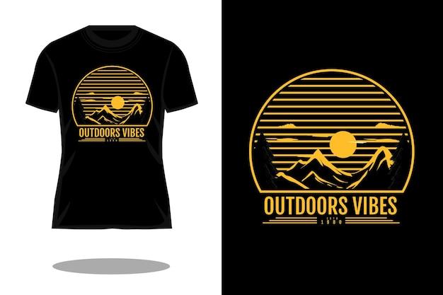 Projeto de camiseta silhueta com vibrações ao ar livre