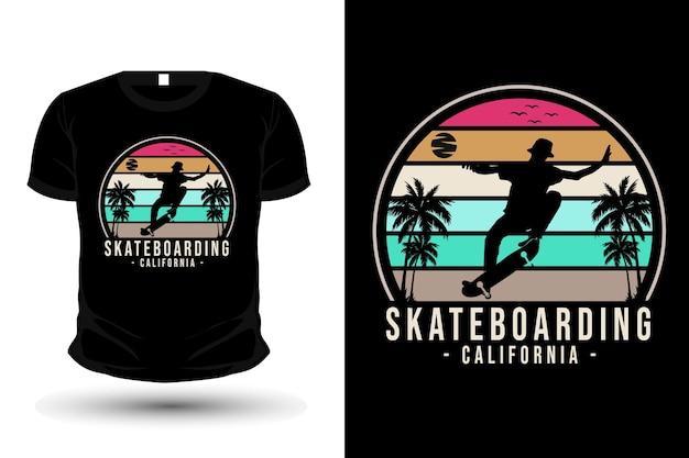 Projeto de camiseta silhueta de mercadoria de skate da califórnia