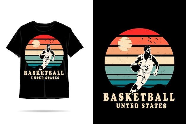 Projeto de camiseta silhueta dos estados unidos para basquete