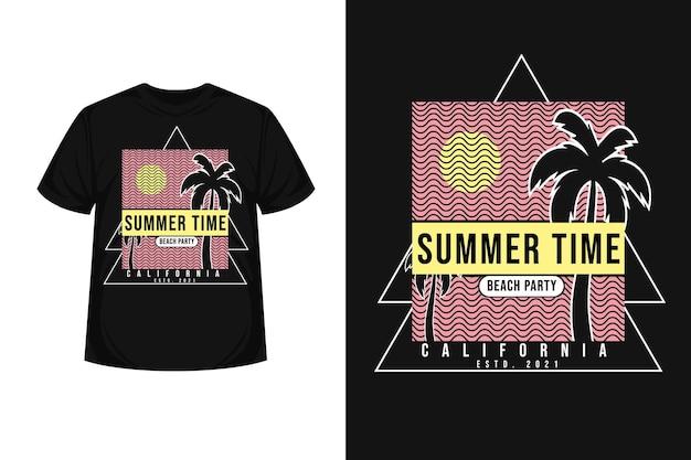 Projeto de camiseta silhueta para festa de praia no verão