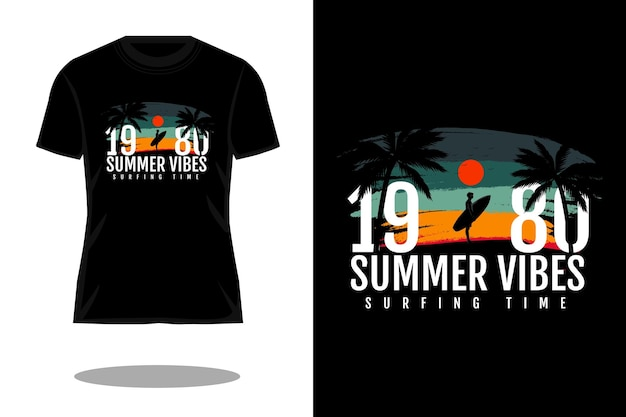 Projeto de camiseta silhueta retrô com vibrações de verão