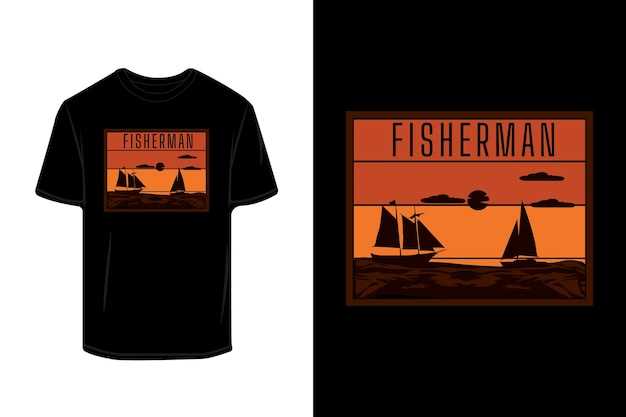 Projeto de camiseta silhueta retrô de pescador