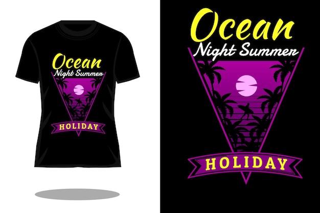 Projeto de camiseta vintage da silhueta do verão à noite do oceano