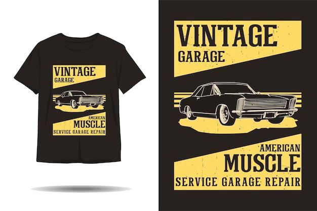 Projeto de camiseta vintage garagem americana muscle service garagem reparo silhueta