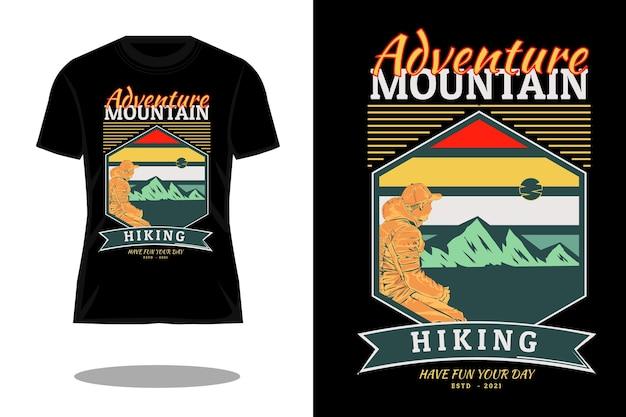 Projeto de camiseta vintage retrô aventura caminhada na montanha