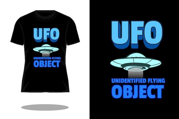 Projeto de camiseta vintage retrô de objeto voador não identificado
