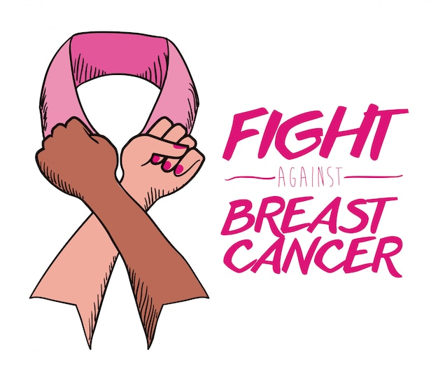 Projeto de câncer de mama, ilustração vetorial.