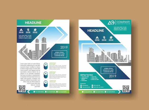 Projeto de capa de layout folheto de relatório anual