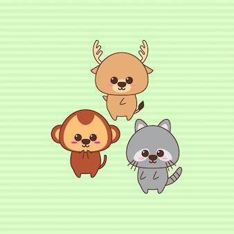 Projeto de caráter animal kawaii bonito