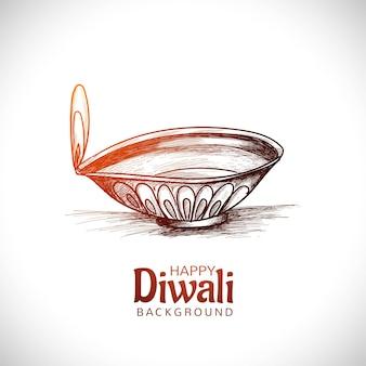 Projeto de cartão de esboço de desenho de mão do festival de lâmpada de óleo diwali