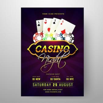 Projeto de cartão do convite do partido da noite do casino com cartões de jogo e