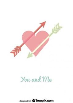 Projeto de cartão do dia minimalista seta dupla coração dos namorados