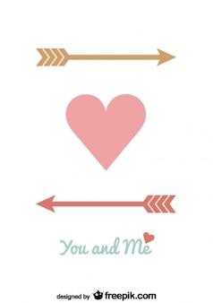 Projeto de cartão do vetor minimalista coração setas para dia dos namorados