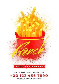 Projeto de cartão francês do menu do alimento para o restaurante e o café.