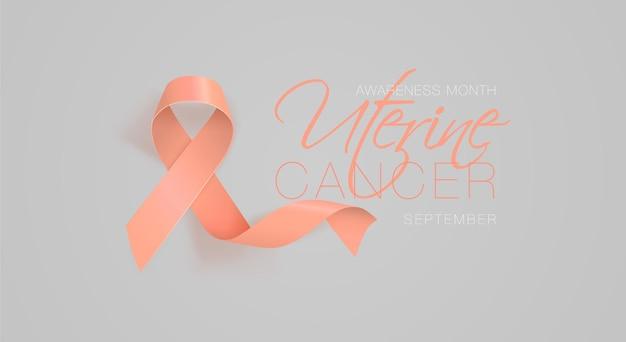 Projeto de cartaz de caligrafia de conscientização sobre o câncer uterino fita de pêssego realista