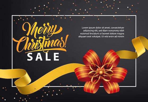 Projeto de cartaz de varejo de venda de natal. laço vermelho, fita de ouro