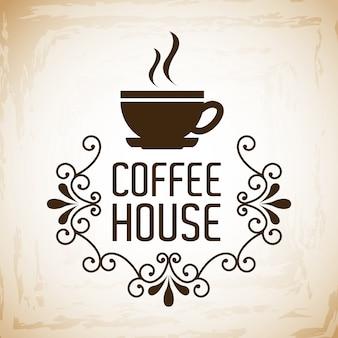 Projeto de casa de café sobre ilustração vetorial de fundo vintage