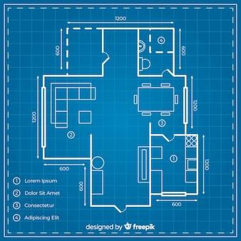 Projeto de casa digital com planta