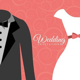 Projeto de casamento sobre ilustração vetorial de fundo rosa