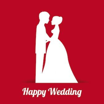 Projeto de casamento sobre ilustração vetorial de fundo vermelho