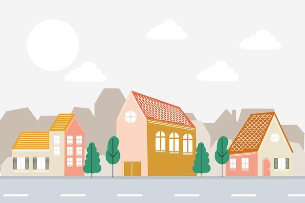 Projeto de casas na frente da estrada, tema de construção de imóveis residenciais, ilustração vetorial