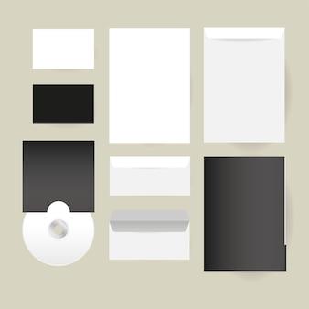 Projeto de cd e envelopes de maquete de modelo de identidade corporativa e tema de marca