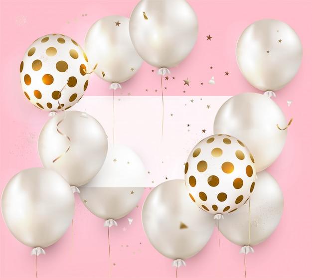 Projeto de celebração com balões de ar em uma rosa. aniversário. cartão de feliz aniversário